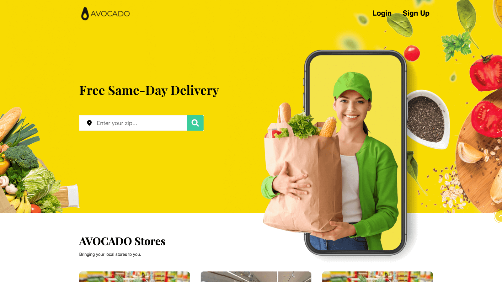 grocery delivery website and app-avocado